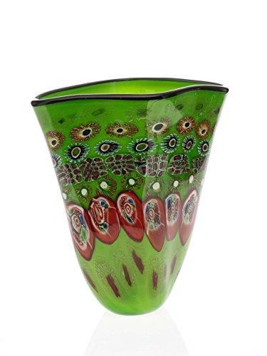 Glasvase Glas Vase im Murano Stil glass vase schwere Tischvase grün
