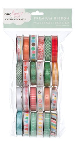 American Crafts Ribbon Value Pack 24 1-Yard Spools, Dear Lizzy