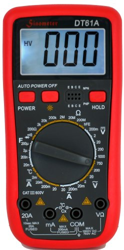 Sinometer-DT61A-AC-DC-20A-Current-Digital-Multimeter-with-Temperature-Measurement-Resettable-Fuse