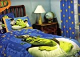 """Dreamworks Shrek the Third Twin Comforter Set - Comforter, Fitted Sheet, Pillowcase, Pair of 84"""" Drapes with Tie Backs"""