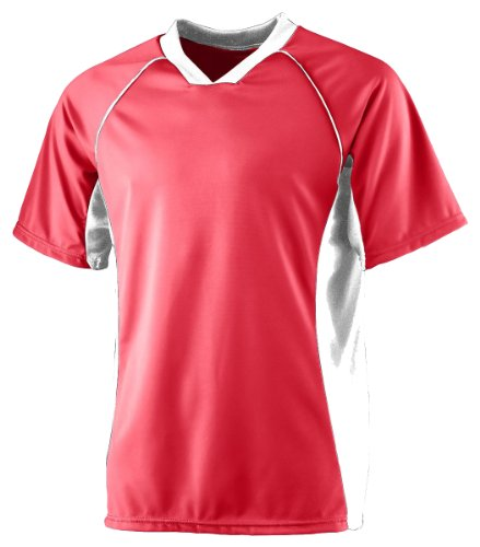Augusta Sportswear Youth Rib Knit Sport Jersey, Red/White, Large front-944527