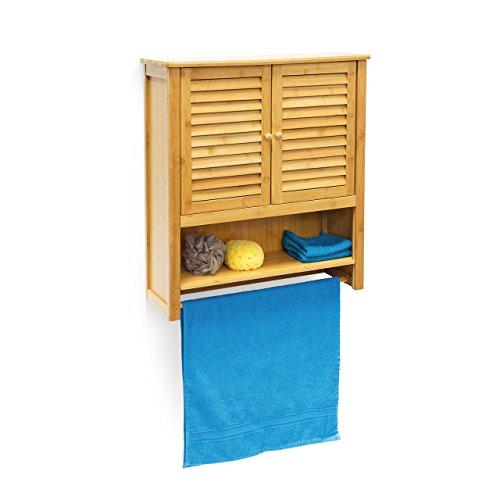 Relaxdays-Hngeschrank-LAMELL-Bambus-H-x-Bx-T-66-x-60-x-20-cm-Badschrank-zum-Hngen-mit-Handtuchhalter-Badezimmerschrank-mit-2-Tren-und-Regalfach-Bad-Schrank-als-Oberschrank-Badhngeschrank-natur