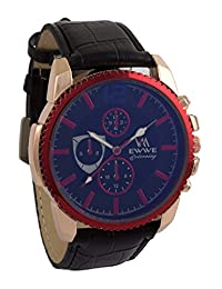 Addic EWWE Dark Blue Color Dial With Red Laser Cut Bezel And Black Leather Strap Watch For Men (19)