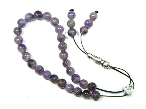A2-0105 - Loose String Greek Komboloi Prayer Beads Worry Beads 8mm Amethyst Gemstone