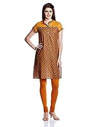 Juniper Women's Straight Kurta (30754_Mustard_Medium)