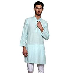 Dhrohar Blue Khadi Cotton Full Sleeve Long Kurta for Men