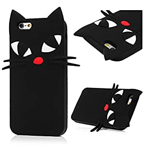 Apple Iphone Case - BADALink Rubber 3D Cartoon Animal Protective Soft Silicone Phone Case Black Whiskers Cat Back Cover for Apple IPhone from Badalink