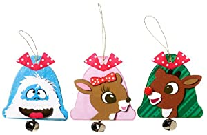 WeGlow International Rudolph The Red-Nosed Reindeer Ornament with Bell Foam Kit, Makes 12