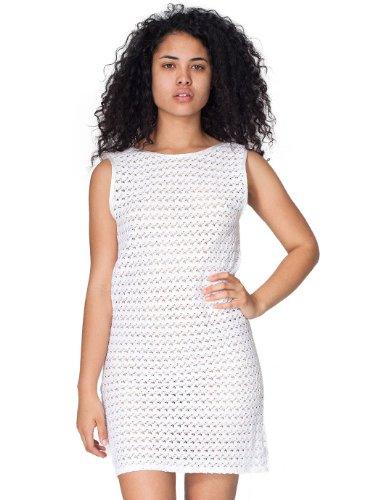 American Apparel Flower Bud Crochet Lace Scoop Back Dress Small-White. 0412d69bb
