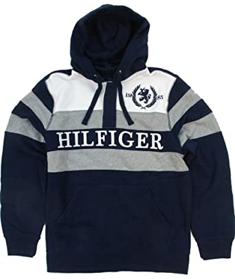 Tommy Hilfiger Mens Fleece Pullover Hooded Sweatshirt - L - Navy/White/Gray