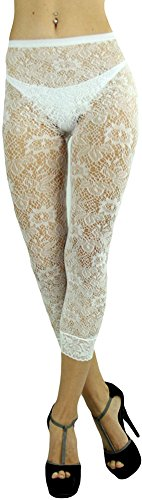 ToBeInStyle Women's Floral Lace Nylon Blend Leggings With Lace