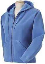 Comfort Colors Ladies Garment Dyed Full Zip Hooded Fleece Sweatshirt - Flo Blue
