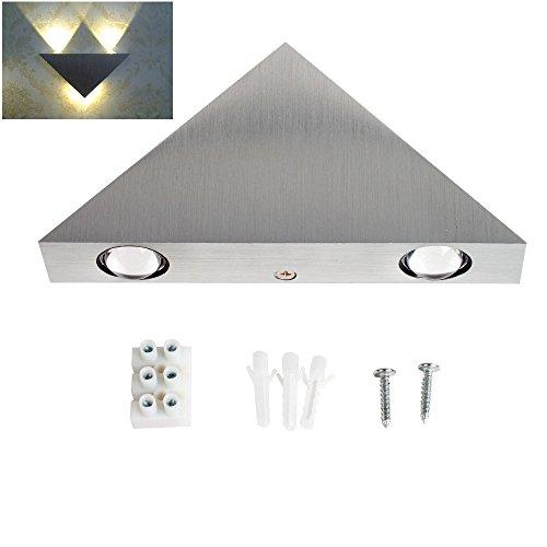 AGPtek Modern 3W LED Warm White Triangle Aluminum Wall Lamp Hall Porch Walkway Living Room Light Bedroom Light Mural Lamp