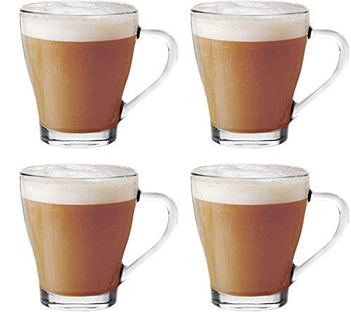 Get Goods - Set di 4 tazze da cappuccino in vetro per tè, caffè, caffelatte, cioccolata calda