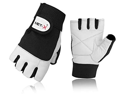 MET-X Gym Gloves White Leather, Fitness Gloves ALL Sizes MT-05 White Leather Amara Gloves by met-x
