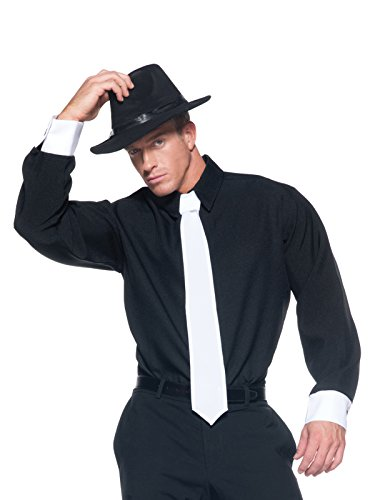 Black and White Long Sleeve Mens Button Up Gangster Costume Shirt Easy Costumes