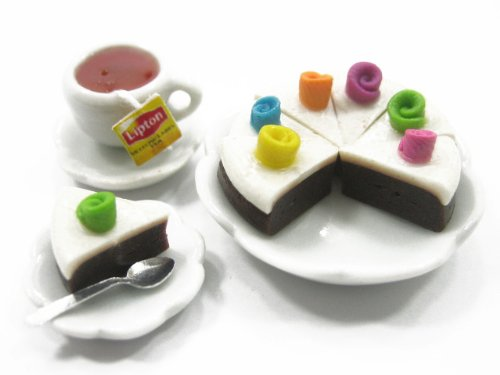 Dollhouse Miniature Food Slice Cake on Ceramic Plate with Ceramic Tea Set Supply Charms Deco Dollhouse Food