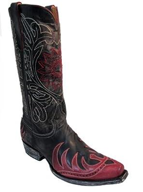 Men's Old Gringo Western Cowboy Boots M948-2 White stich vesuvio Choc/Red Size 9