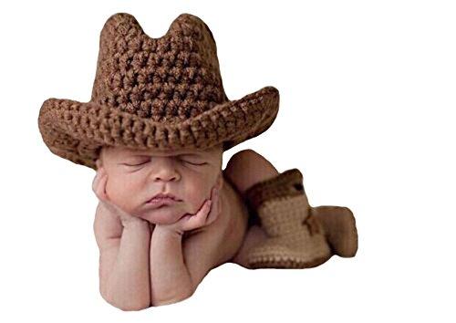 CX-Queen Baby Photography Prop Crochet Knit Brown Cowboy Hat Boots Set