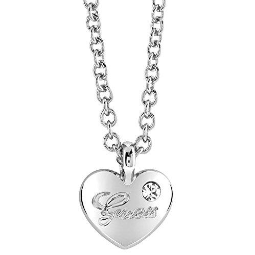 Guess Damen-Kette mit Anhänger Herz Messing Glas weiß 45.5 cm - UBN21526 thumbnail