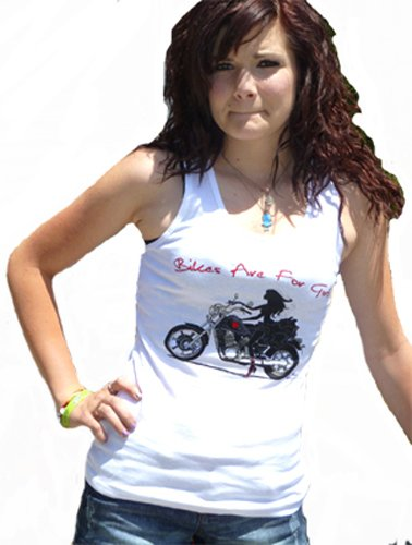 Women Motorcycle TANK TOP Lady Rider - White Size: Small. AmiArt Design
