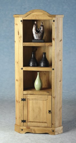 Corona Mexican Pine Corner 3 Shelf Bookcase Display Unit
