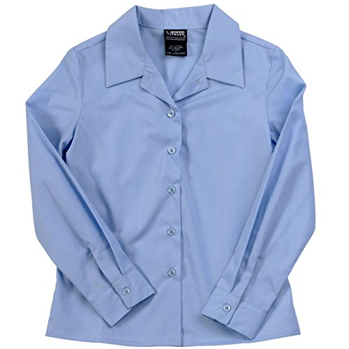 French Toast L/S Notched Collar Blouse (Sizes 7 20) - blue, 12