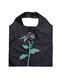 Rose Flowers Reusable Folding Protable Shopping Bag Travel Grocery Bags Tote (Black)