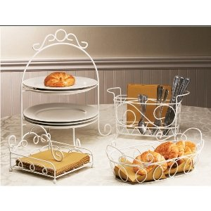 Cheap 3 Pieces White Iron Buffet Set Includes Napking Holder Plates Holder and Cutlery Holder (B001HHZW2G)