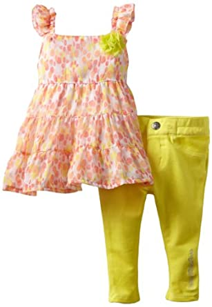 Calvin Klein Baby-girls Infant Printed Tunic with Pants, Yellow, 18 Months