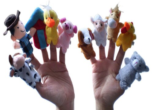 10pc Animal Velvet Old Macdonald Had a Farm Finger Puppets - 1