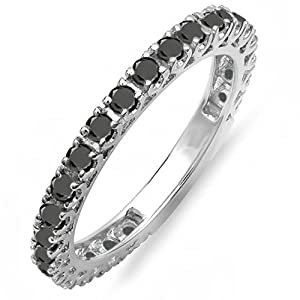 1.00 Carat (ctw) 14K White Gold Round Black Diamond Eternity Sizeable Stackable Ring Anniversary Wedding Band 1 CT (Size 6.5)