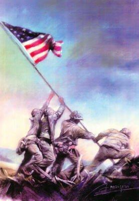 Iwo Jima MARINES USMC World War II 2 poster print RARE - 11x17