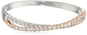 Sterling Silver with Pink Gold Plated Crossover Diamond Fashion Ring (1/6 cttw, H-I Color, I2 Clarity) from Max Mark Inc.