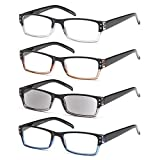 GAMMA RAY 4 Pairs Rectangular Spring Loaded Reading Glasses Sun Readers - 1.50x (Color: 4 Pack Rectangle Unisex, Tamaño: 1.50x)