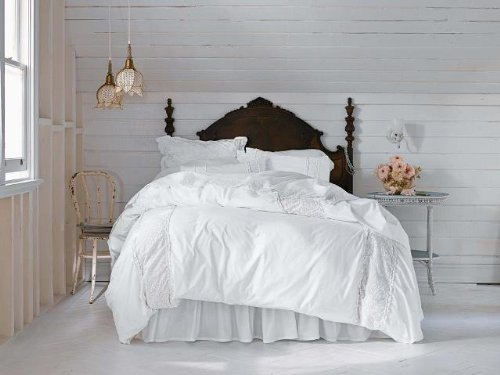 Simply Shabby Chic Pieced Meshed Lace White Duvet Set QUEEN
