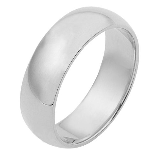 14K White Gold, Light Half Round Wedding Band 7MM (sz 7.5)