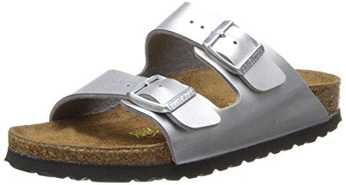 Birkenstock Unisex Arizona  Soft Footbed Sandal,Silver,38 N EU
