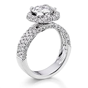 Diamond Engagement Ring in 18K Gold / White Certified, Round, 3.24 Carat, K Color, SI1 Clarity