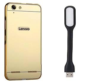 Novo Style Back Cover Case with Bumper Frame Case for Lenovo Vibe K5 PlusGolden + Mini USB LED Light Adjust Angle / bendable Portable Flexible USB Light