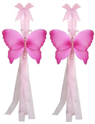 Butterfly Tiebacks Dark Pink (Fuchsia) Crystal Nylon Butterflies Tieback Pair / Set Decorations. Window Curtains Holder Drapery Holders Tie Backs To Decorate A Baby Nursery Bedroom, Girls Room Wall Decor, Wedding Birthday Party, Bridal Baby Shower, Bathro front-1071013