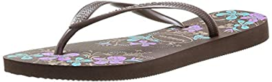 Havaianas Women's Slim Season Sandal,Dark Brown,35/36 BR/5-6 M US