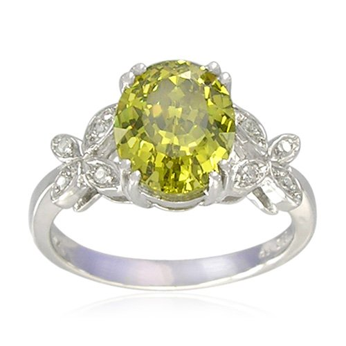 Sterling Silver Oval-Shaped Created Peridot Ring, Size 5