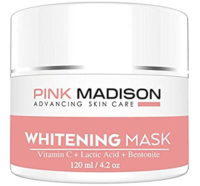 SKIN LIGHTENING Whitening Cream Mask. Use as Dark Spot Corrector to Brighten Dark Skin. Natural Whitening Cream Mask for Face Body Dark Spots and Age Spots. Contains Vitamin C + B3 + Lactic Acids + Various Clays. Face Legs Body Knee Elbow Skin Brighteners