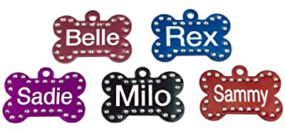 Swarovski Crystal Pet ID Tags - Bone Shape - 5 Colors
