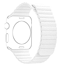 BRG Apple Watch Series 1 Series 2 Band 42mm Leather Loop with Adjustable Magnetic Closure iWatch Band Replacement Bracelet Strap for Apple Watch Sport and Edition 42mm Medium - White
