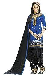 Naaidaakho Royal Blue And Black Patiyala Dress Material