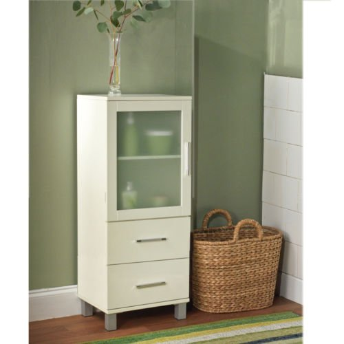 Frosted Pane Shelf White Linen Cabinet 2 Drawer 2 Bathroom Storage Cabinet. Great for Bath Shelving and Extra Space.