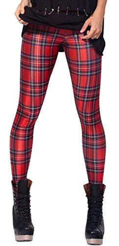 Amour - Women Rock X-ray Skeleton Bone Skull Leggings Tights Black (Regular Size, Tartan Red)