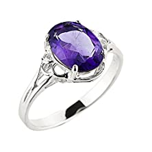 buy Solid 10K White Gold February Birthstone Genuine Amethyst Gemstone Ring (Size 8)